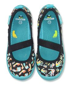 Take a look at this Black & Blue Create Spin Strap Flats - Kids by CHOOZE on #zulily today!