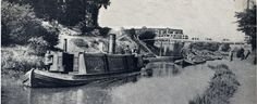 """Captioned: """"Steam canal tug Buffalo at west London in 1906 towing a train of loaded wide gravel boats towards Paddington & the Regents Canal.""""  #steam #canal #tug #buffalo #London #gravel #wideboat #Paddington #Regents #arm #western #cartage #hillingdon #middlesex #barge"""