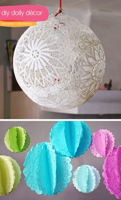 . idea, craft, pom poms, hanging decorations, paper doilies, food coloring, papers, girl rooms, parti