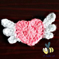Flying heart applique. For a last minute Valentine crochet project. Free Pattern