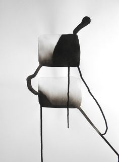 A3 Modernism Contemporary Original Hand Painted Black by Manjuzaka