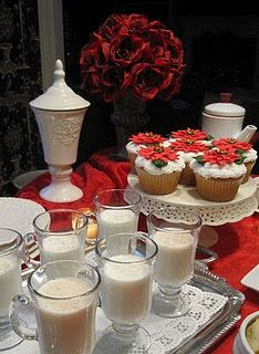 Christmas punch with poinsettia cupcakes