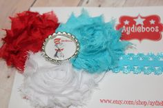 Dr Suess headband shabby rosette and cat in the hat by aydieboos, $10.00