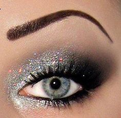 holiday, eye makeup, silver, eyeshadows, new years eve, eyebrows, glitter, makeup idea, prom makeup