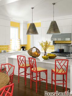 Yellow kitchen w red accents - House Beautiful