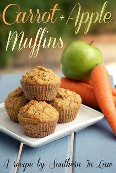Healthy Carrot and Apple Muffins - whole wheat flour, oatmeal, flaxseed, baking powder, baking soda, cinnamon, honey, carrot, apple, applesauce, eggs