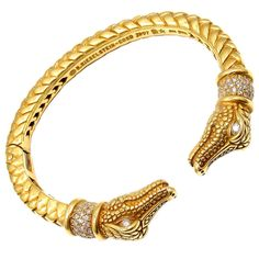 KIESELSTEIN CORD Diamond Alligator-Duo Gold Bangle Bracelet