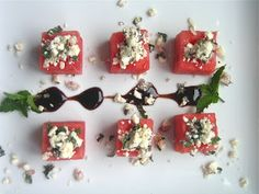 watermelon bites with feta and mint