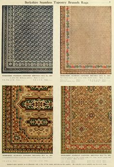 Examples of Berkshire Seamless Tapestry Brussels Rugs from H.A. Herz  catalog, early 1900s.