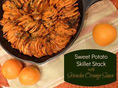 Sweet Potato Skillet Stack with Sriracha Orange Sauce