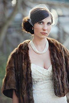 love the idea of vintage fur with your wedding dress = glam vintage goddess wedding dressses, custom veil, furs, wedding ideas, dresses, brides, birdcages, fabul bride, winter weddings