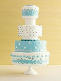 White and Tiffany Blue Cake