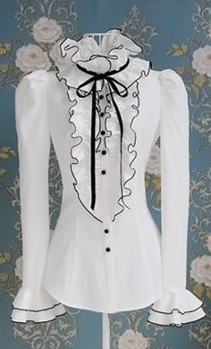 ruffle blouse, jean skirts, steampunk womens fashion, neck ties, tie blouse