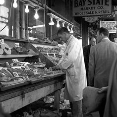 08 meat market    eat market    local butcher  boston, 1957    part of an archival project, featuring the photographs of nick dewolf