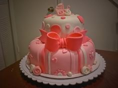 baby shower cake - peach theme.