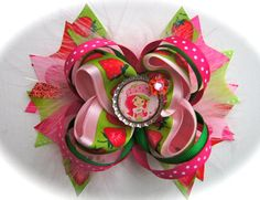 Pink, Red and Green Strawberry Shortcake Hair Bow