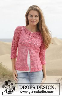 "Crochet DROPS jacket with lace pattern in ""Cotton Merino"". Size S-XXXL. ~ DROPS Design"