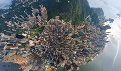 Aerial view of Hong Kong.