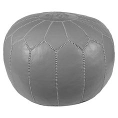 Casablanca Leather Pouf in Gray at Joss & Main