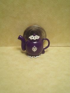Dollhouse Miniature half scale purple teapot by CSpykersMiniatures, $1.00 SOLD