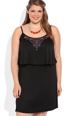 Deb Shops Plus Size A-Line Dress with Embroidered Bodice and Open Back $40.00