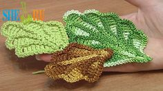 How to Crochet Oak Leaf Step-by-step Tutorial 16 http://sheruknitting.com/videos-about-knitting/crochet-leaf-lessons/item/243-how-to-crochet-oak-leaf.html This crochet tutorial will teach you how to crochet volumetric oak leaf. One row we work in back loops and another one in front (free) loops. This leaf made in rows and has five sections. Following the same method you can create bigger or smaller oak leaf for you projects. Enjoy the tutorial!