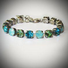 Mint and Green Opal Tennis Bracelet Line Bracelet by RewElliott