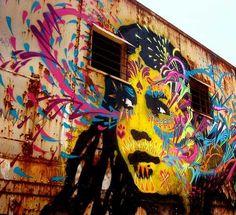 Oaxaca, Mexico wall art, stinkfish, mexican art, color, urban art, graffiti, street art, oaxaca, streetart