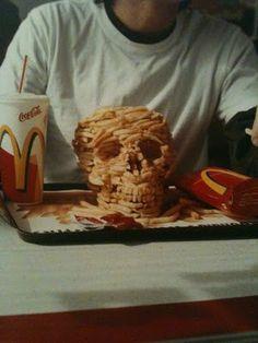 Chip skull hand, chip, skulls, sculptures, bone, french fries, potato, food art, fast foods