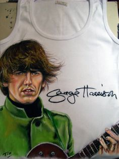 George Harrison T-shirt painted by hand! Hope u like it! You can see more on facebook/TinArtStore