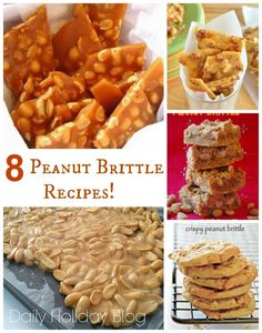 8 yummy peanut brittle recipes!  Great idea for holiday giving- make all 8 recipes and create sampler gift boxes!
