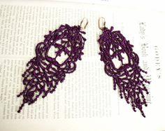 romantic lace earrings JULIANA purple tinaevarenee on Etsy  #jewelry #lace #fashion #earrings