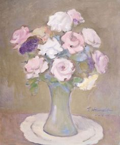 TOMOO HANDA - (1906 - 1996)    Título: Flores  Técnica: óleo sobre tela  Medidas: 46 x38 cm  Assinatura: canto inferior direito  Data/Local: 1992