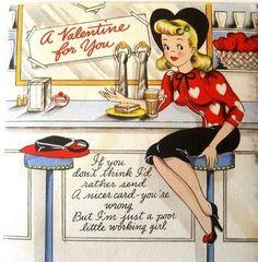 holidayvalentin card, vintage valentines, valentine day, vintag card, vintag valentin, soda, sweet vintag, diner, vintage cards