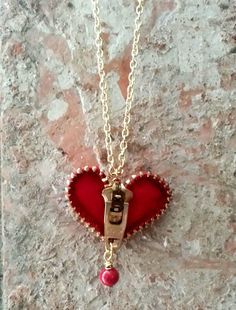 Zipper Heart Necklace via Etsy