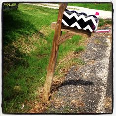 Homemade mailbox. Used spray paint and masking tape :)