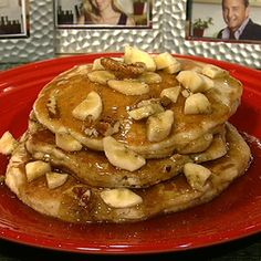The Chew. Banana Flax Pecan Pancakes.