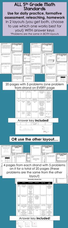 $ Awesome!  All 5th Grade Math Standards sheets, get to choose layout!