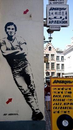 Bruce Springsteen de Jef Aérosol, Bruxelles  #streetart #arteurbana #graffiti #urbanart #mural #wall