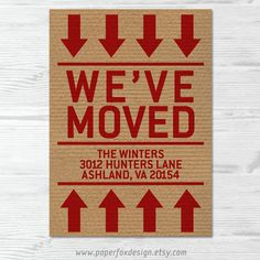 Moving Announcement New Home New Address Card  by PaperFoxDesign, $13.50
