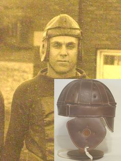 The work horse of the leather football helmets from 1915 - 1920s this Dogear leather football helmet was worn by most schools ...The ear flaps could be folded up and thus the players played with the flaps up and thus the name Dog Ear leather football helmet