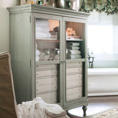 Gorgeous Bathroom Cabinet in Spanish Moss Color.