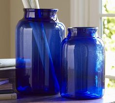 PB Found Cobalt Mason Jar #potterybarn potterybarn, cobalt glass, cobalt mason, blue glass, garden decorations, color, cobalt blue, mason jars, pottery barn