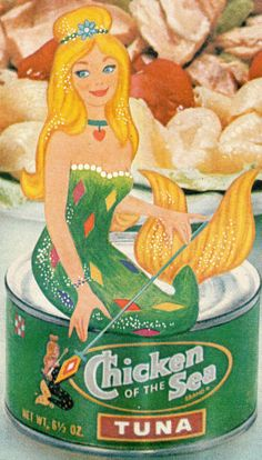 Chicken of the Sea mermaid sitting on a can of her Chicken of the Sea tuna. What's the best Tuna?