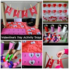 Valentine's Day Preschool Activity Learning Trays from I Heart Crafty Things. Fine motor, numbers, counting, sorting, name recognition.