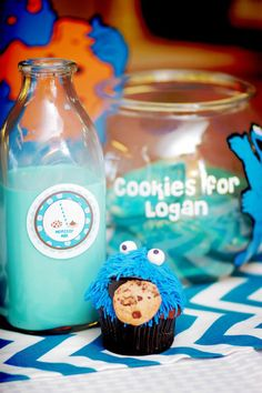 Cupcake & Blue Milk with a cookie recipe bowl for Birthday child