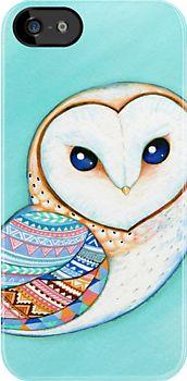 Tribal Pattern Barn Owl by Annya Kai