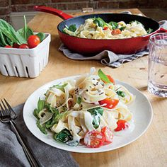 Creamy Mascarpone and Spinach Linguine   MyRecipes.com #myplate