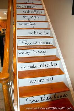 Makes me wish I had a 2 story house!  What a great idea! basement stairs, stairway, famili, decorating ideas, stair risers, finished basements, house rules, quot, painted stairs