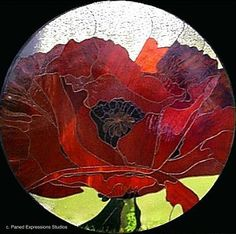 glass art, glass window, red poppi, red poppy, glasses, mosaicsstain glass, red flowers, poppies, stained glass